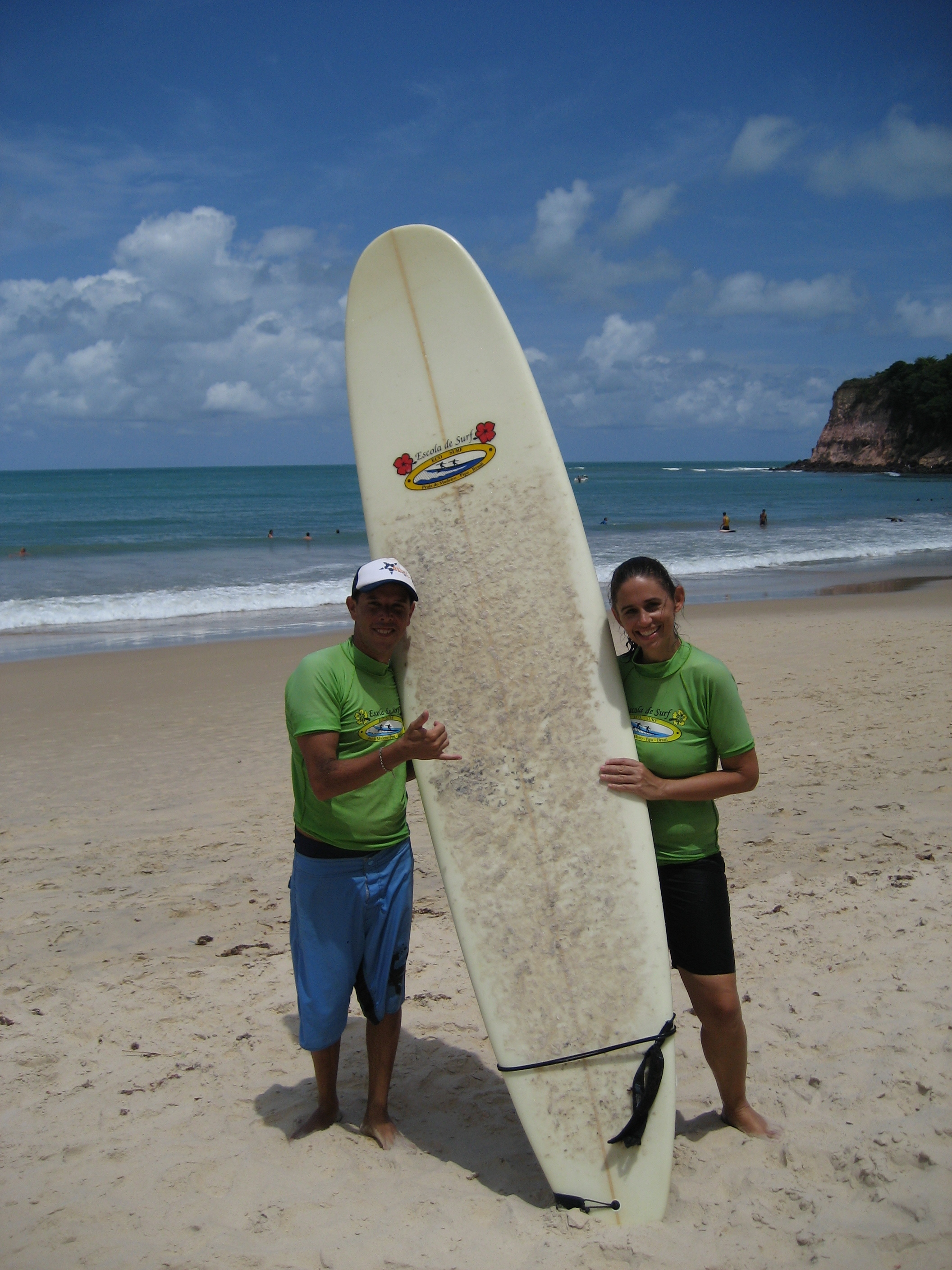 First and last time on a surfboard in 8 inch surf at Praia do Madeiro, Brazil, 2010.