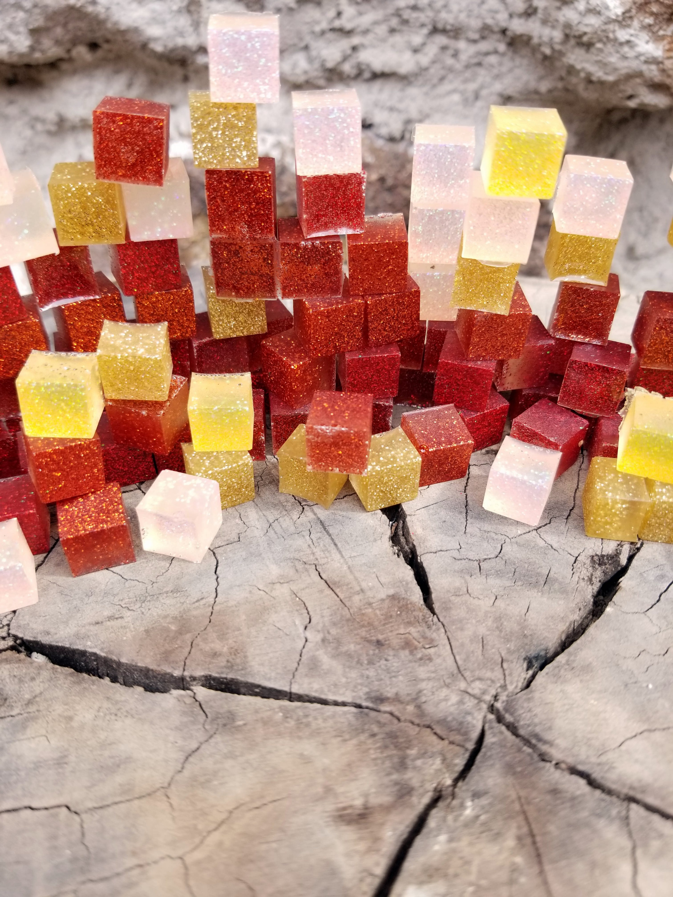 Glitter infused resin cubes stacked and good enough to eat in San Miguel de Allende, Mexico, January 2018.