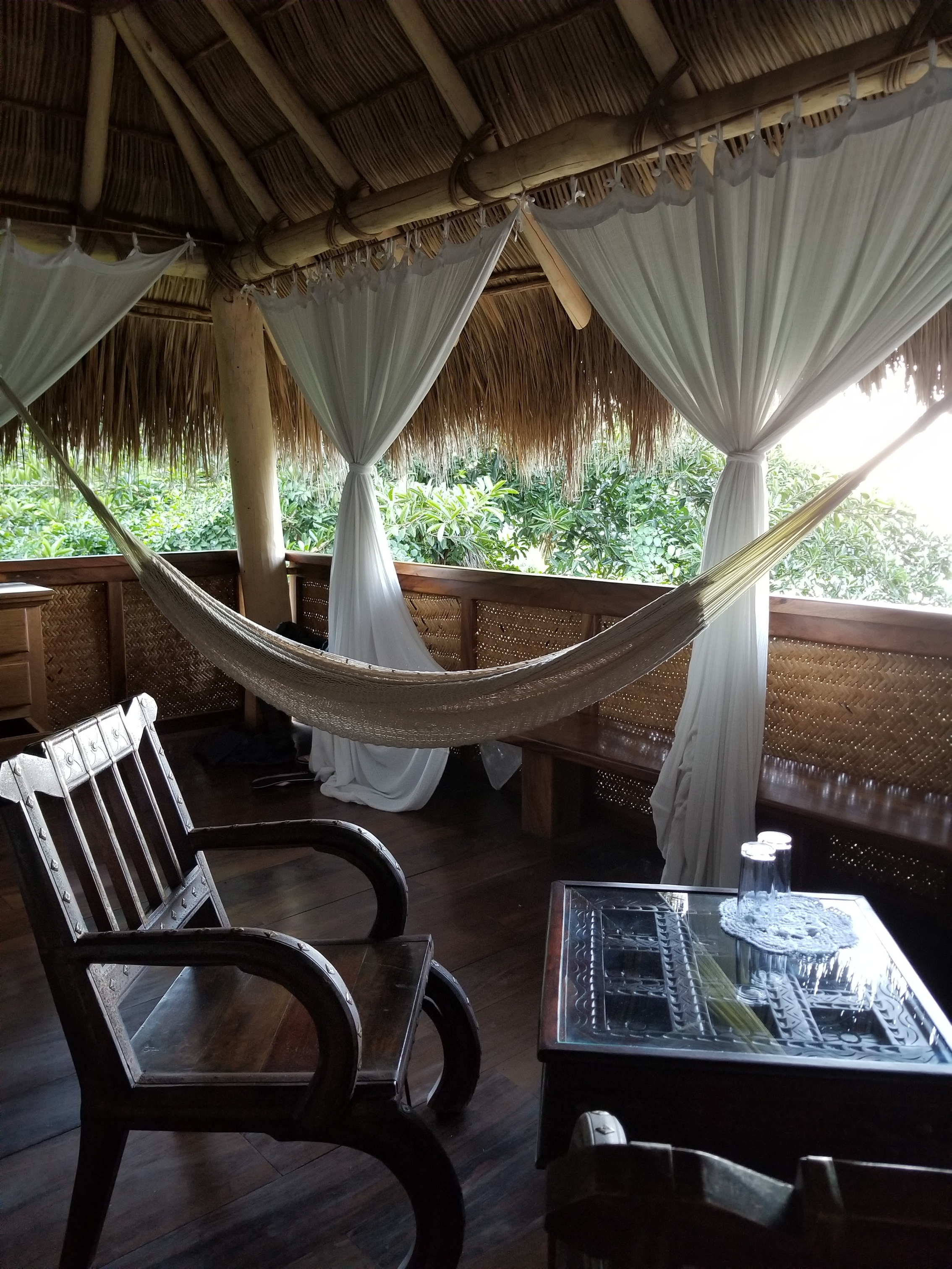 Living among the tropical elements in Moldavite cabana.