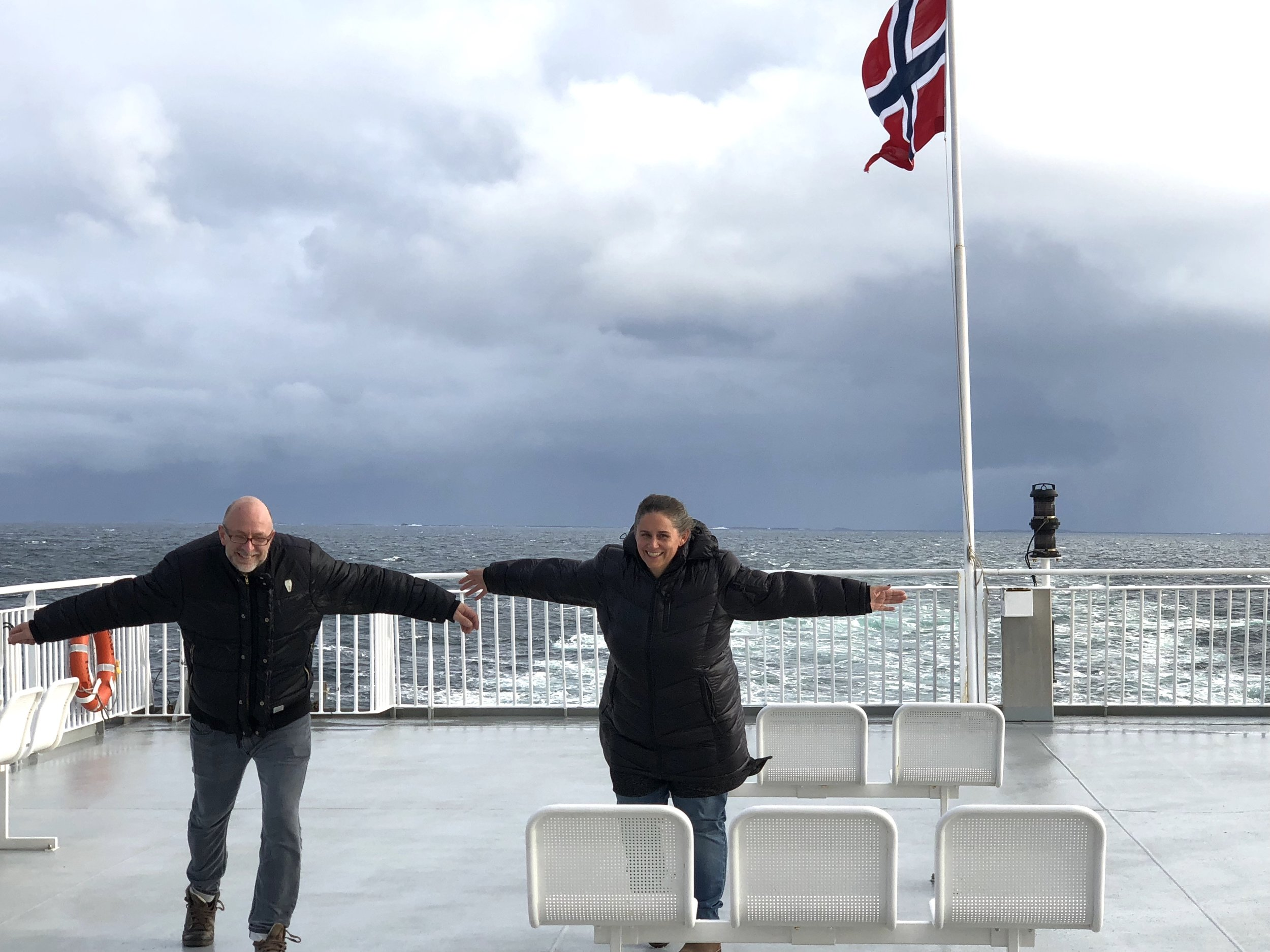 Chris and yours truly leaning into the wind on our way to Lofoten, October 2018.