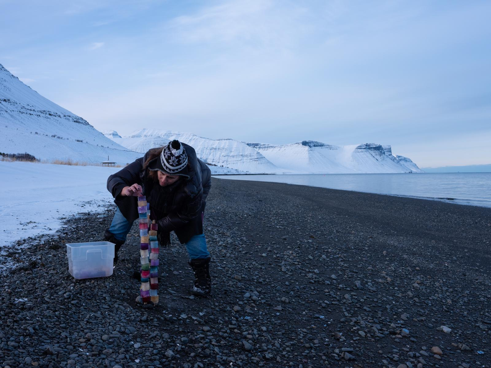 Shot Glass installation on the beach of Þingeyri, Westfjords, Iceland, February 2019.