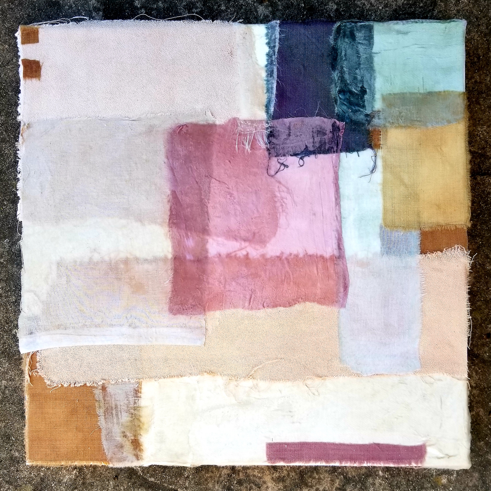 Building a body of mixed media work from the   Iceland   series. Organically dyed fabric on canvas, 12x12 inches.