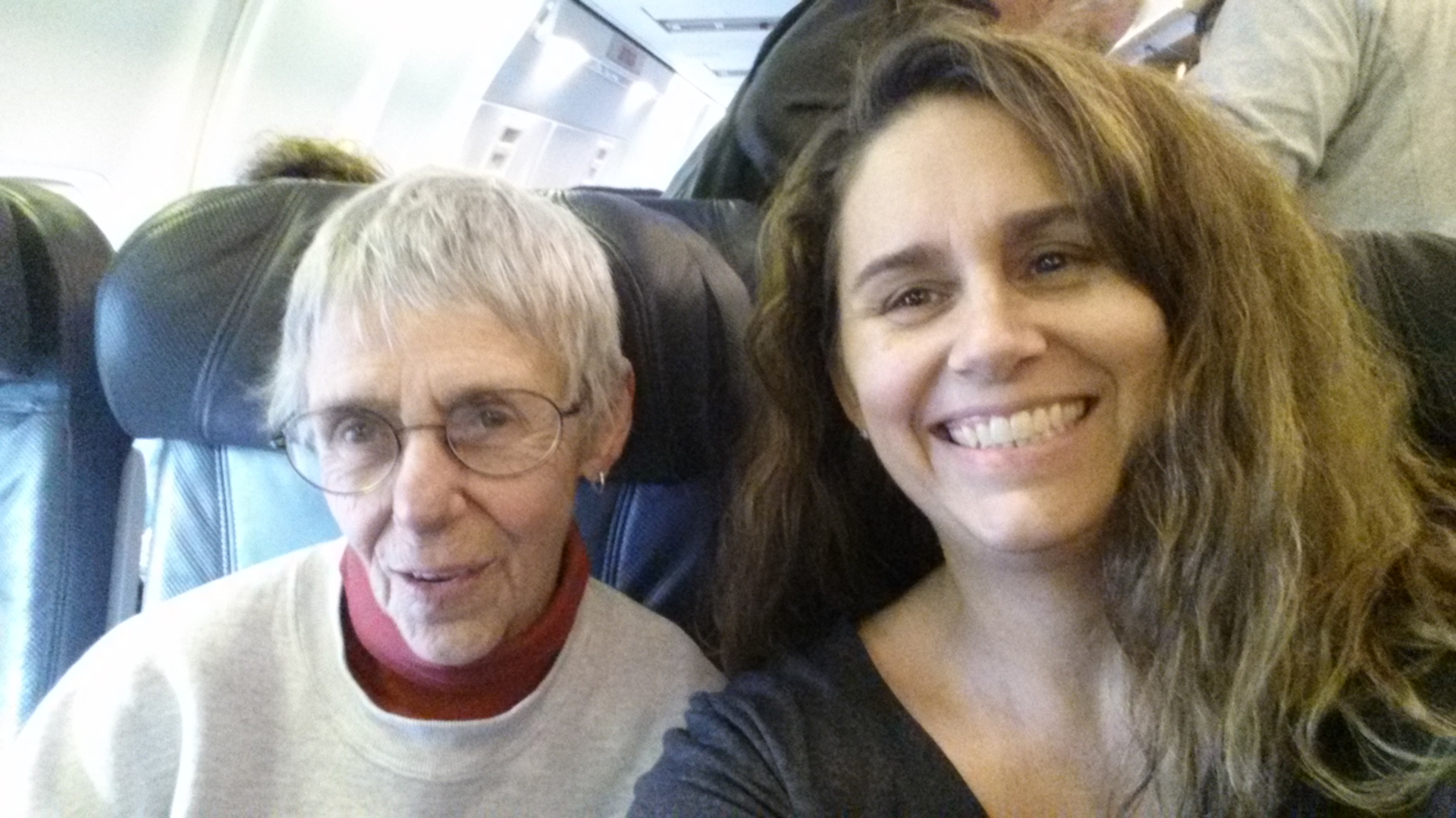 Traveling artists in their element: Jan and Byrdie on a plane to Ketchikan, Alaska, April 2015.