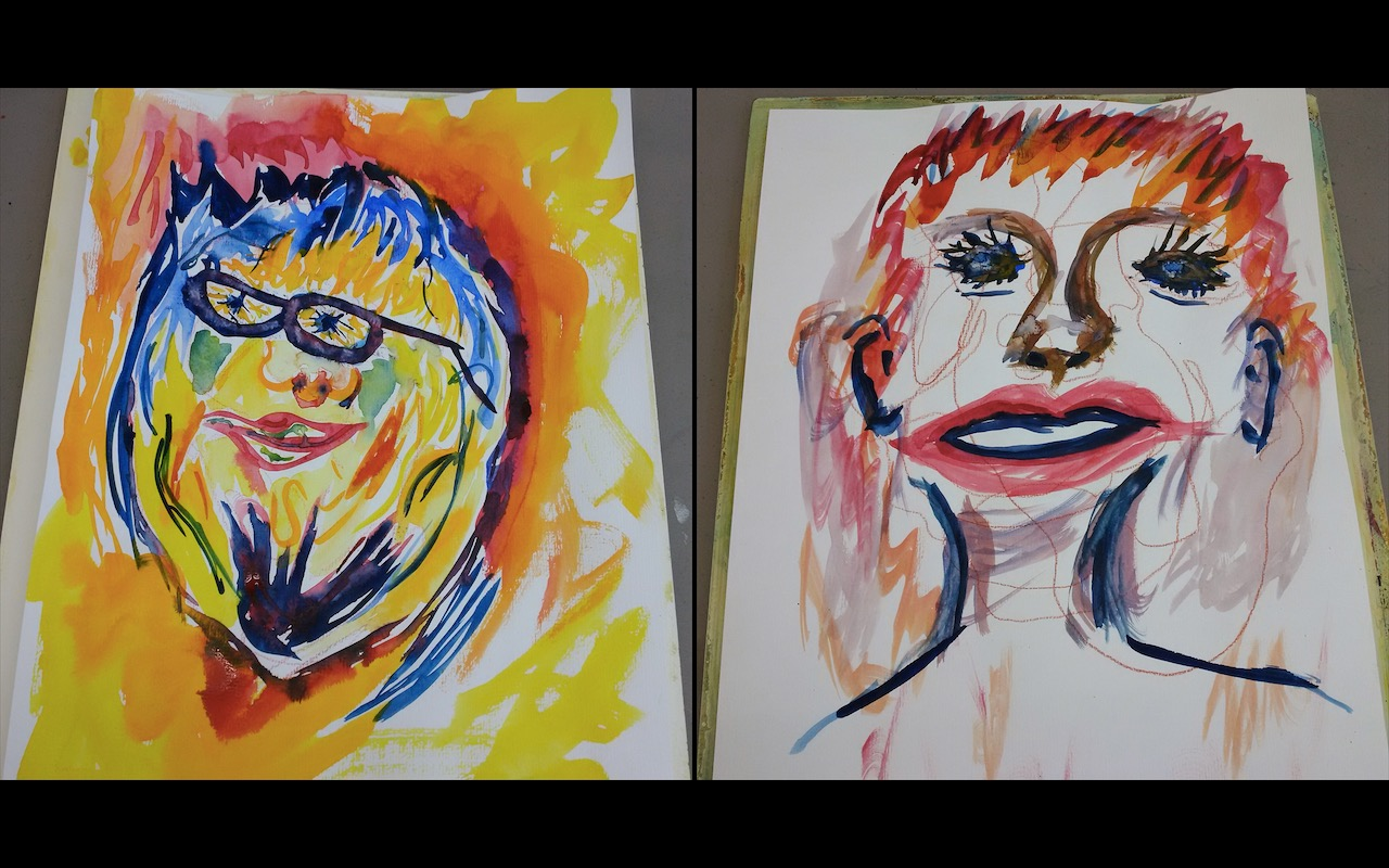 Blind contour paintings we made of each other at the Frye Museum in 2016. Guess which one is me?