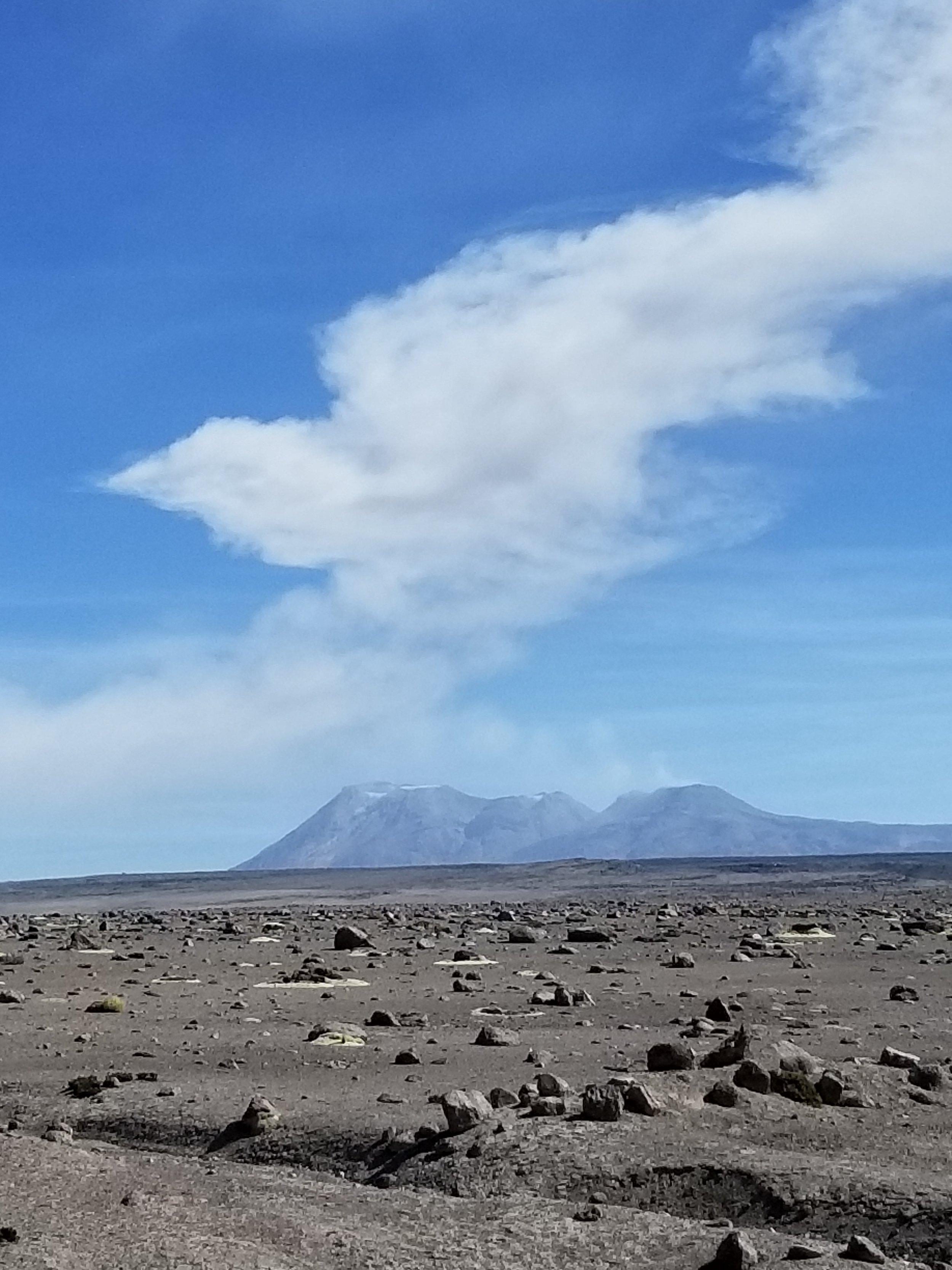 Sabancaya belching her volcanic mist near Patapampa Pass in southern Peru, June 2019.