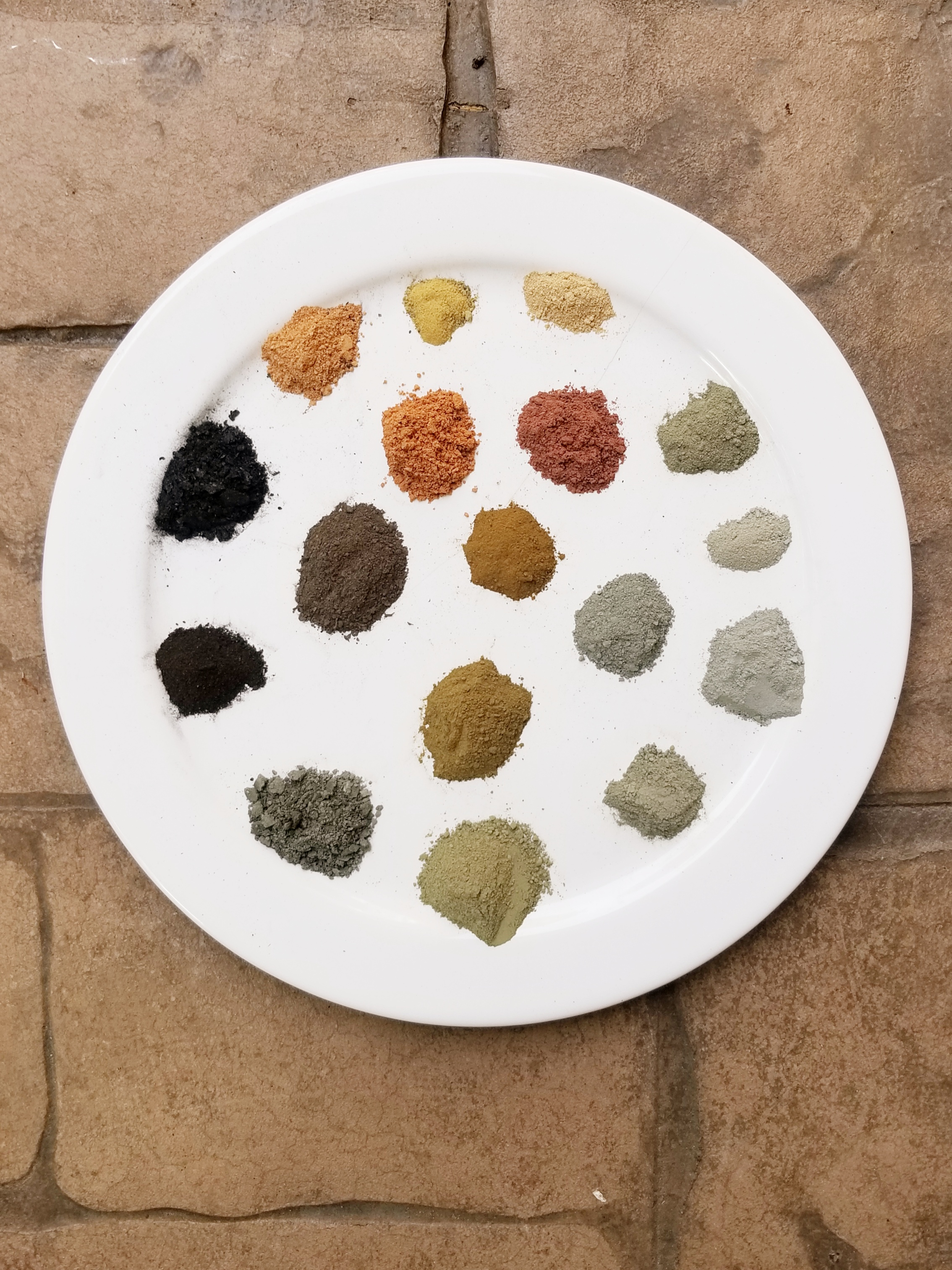 Pigments I foraged and ground from Whidbey Island thanks to the mineral genius of Heidi Gustafson, June 2019.