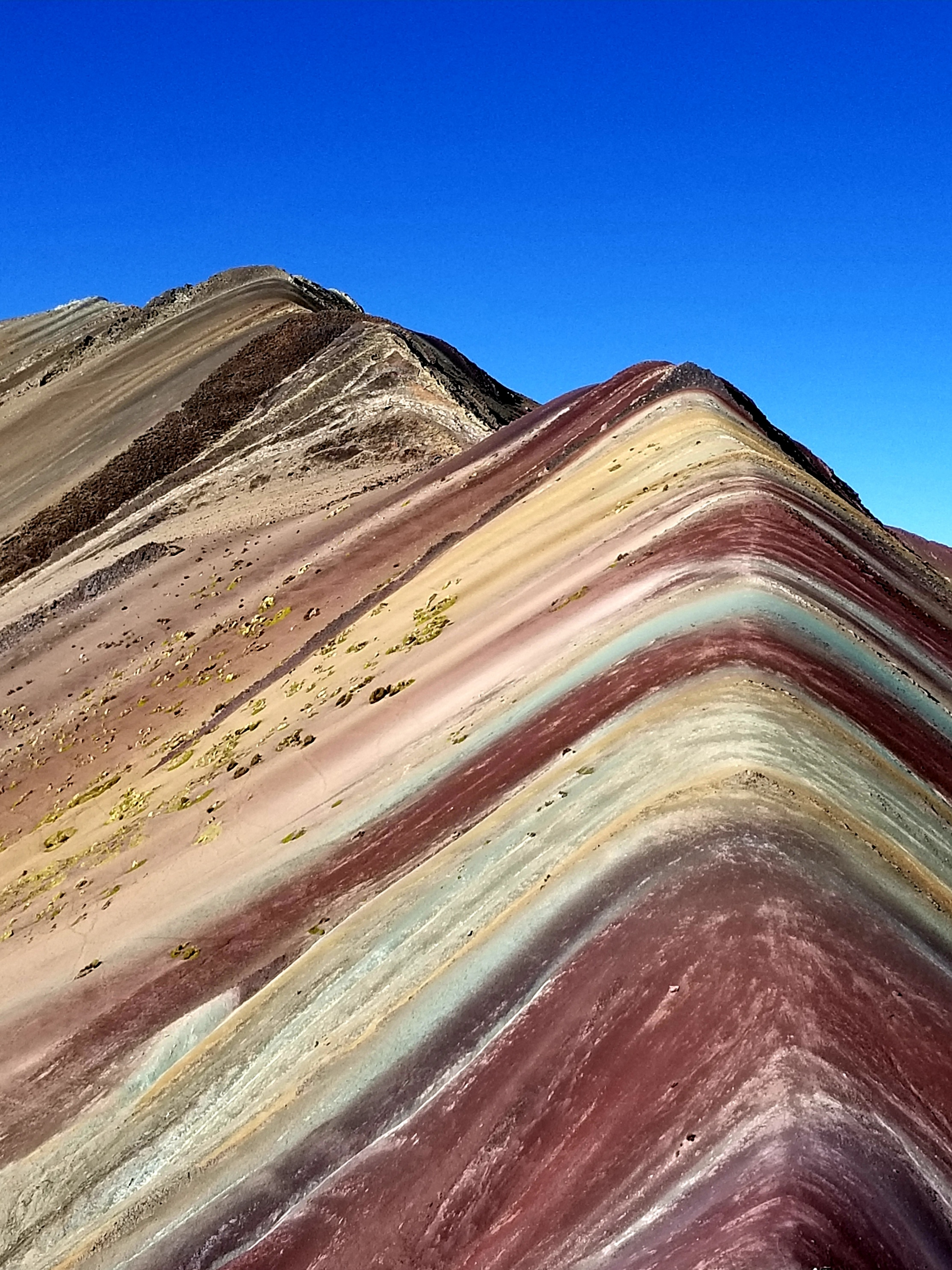 Easy to see the earth pigments in the Mountain of 7 Colors, aka Rainbow Mountain, Peru, July 2019.