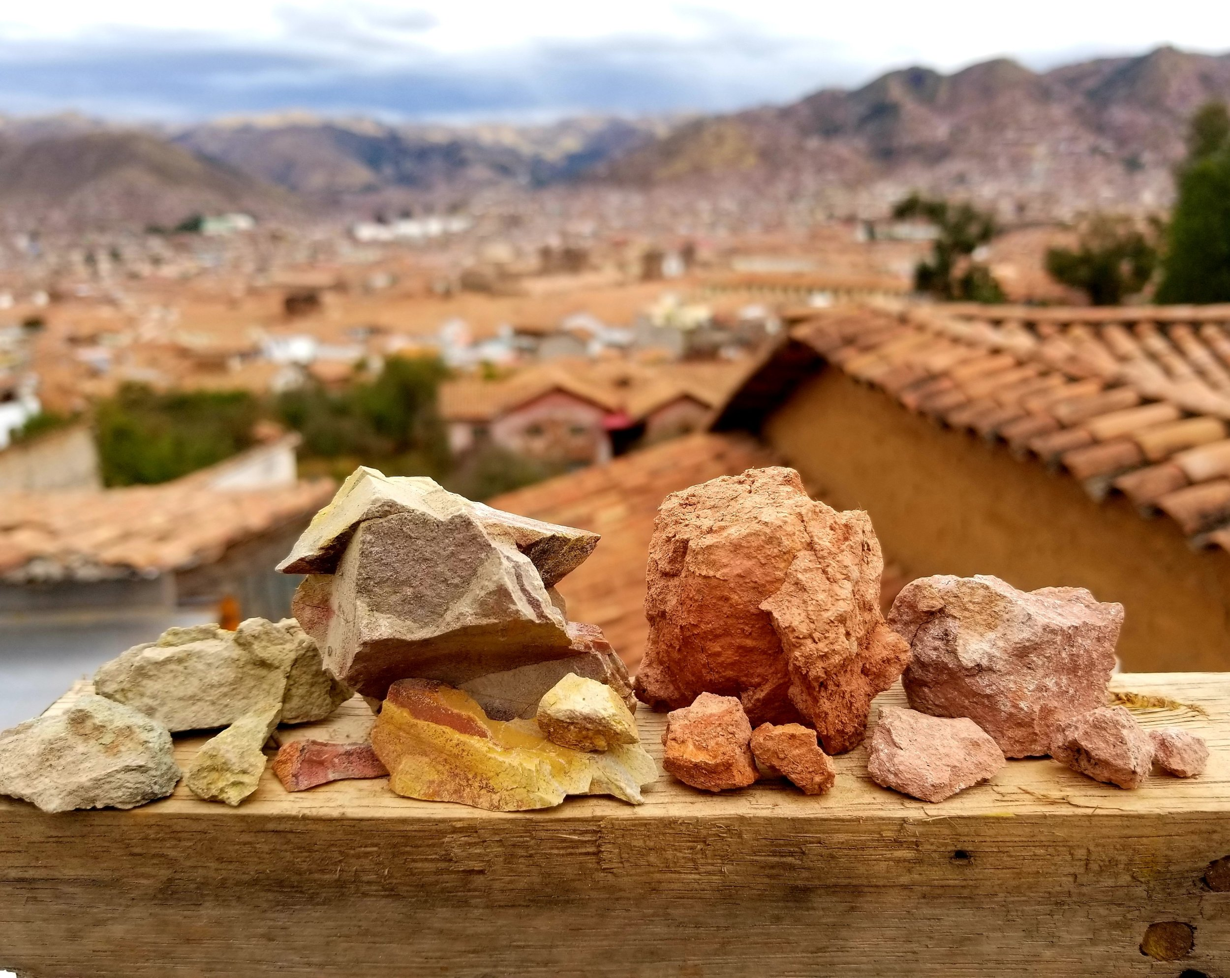 Stones collected along the route to Cusco, itching to have their pigments ground.