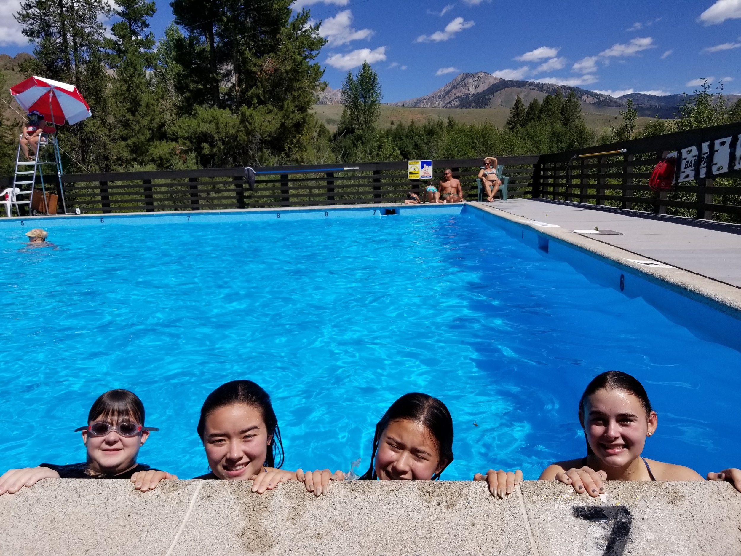 Mason and Zsofi having a soak with their cousins at Easley Hot Springs near Ketchum, Idaho.