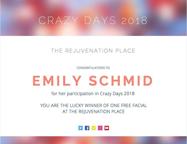 Congratulations to our Crazy Days Winner! #rejuvenationplace