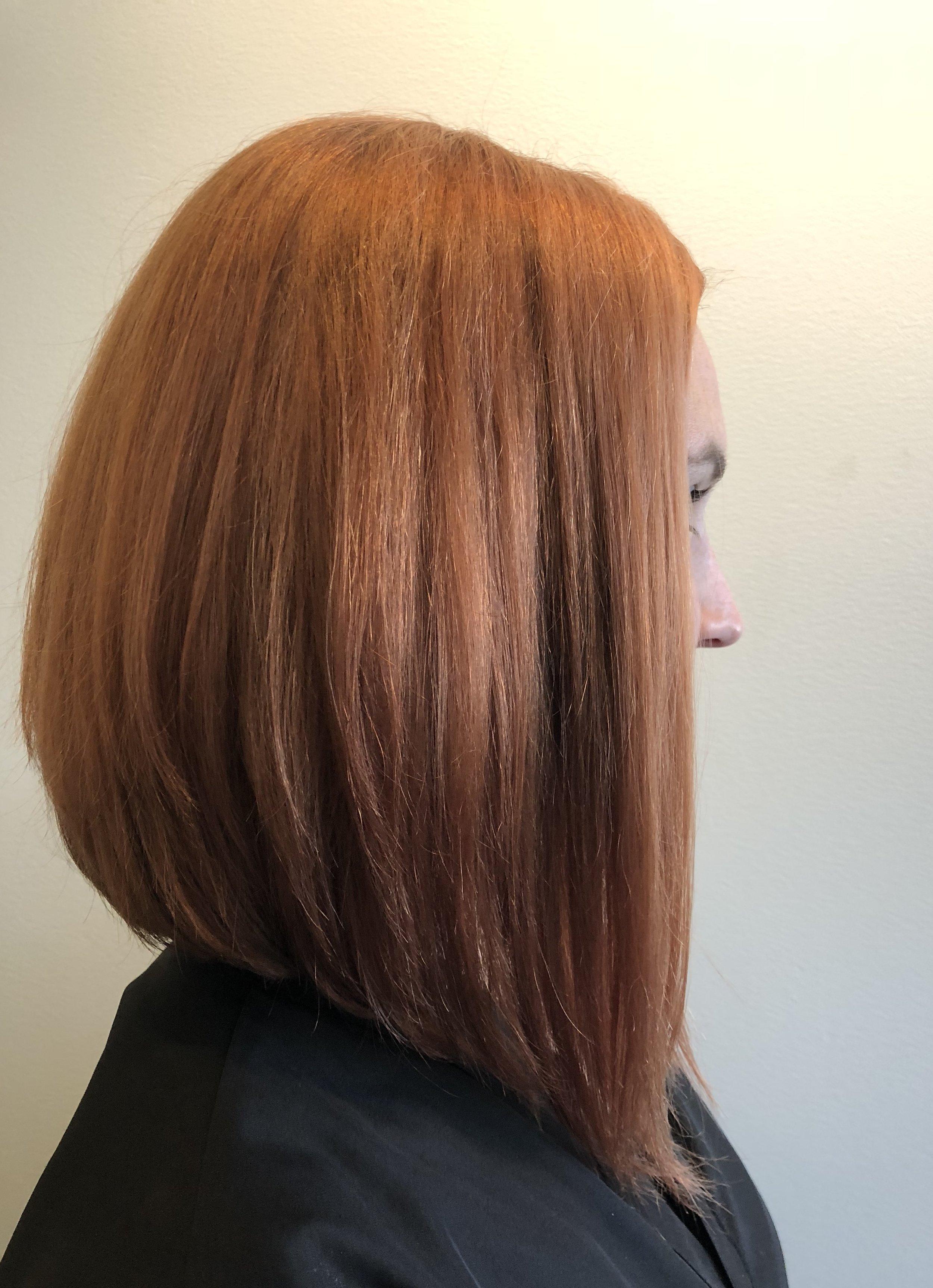 Copper Hair Color with Diagonal Forward Bob  Hair Cut.  Hairbabestudio.com