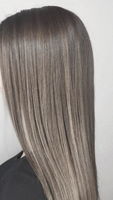 French Balayage with cool tones. Hair Babe Studio  hair salons Asheville, NC