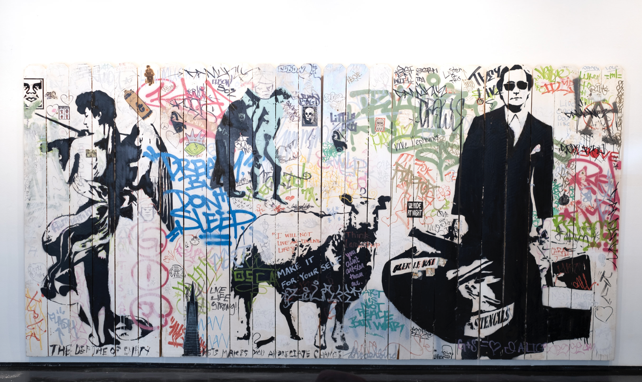 "Blek Le Rat's 'Fence Collaboration' showcased during ""Street Cred'' at TInney Contemporary"