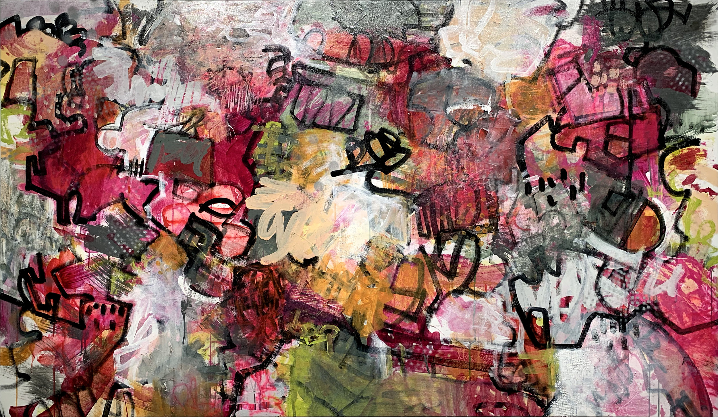Martica Griffin CANDY KISS, 2019 Mixed media on canvas  42 x 72