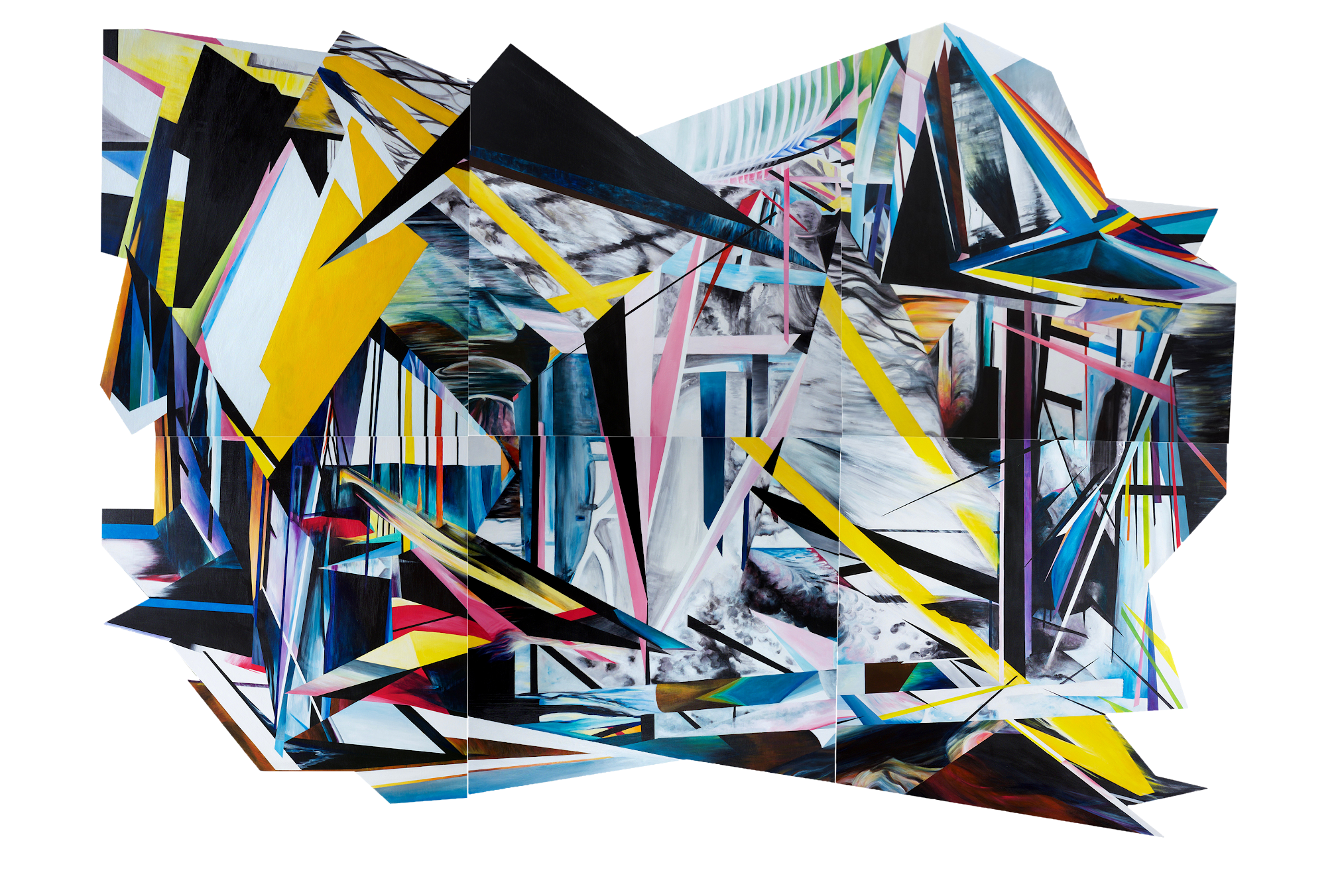 Aftermath 2019 Acrylic on multiples boards 12 x 8 '    Contact Me About This Piece