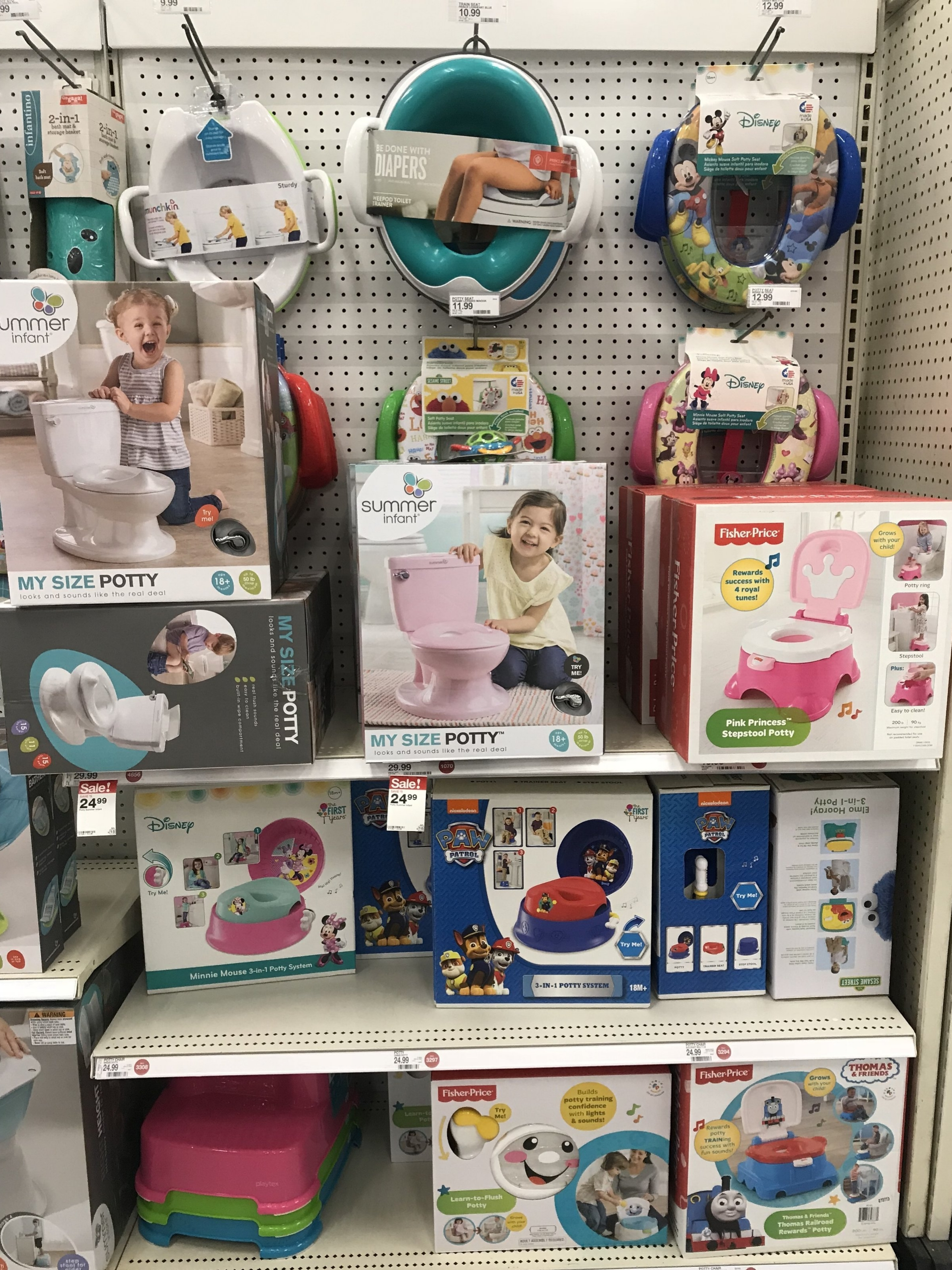There are plenty of potty options to choose from! If you have multiple levels and bathrooms in your house I suggest more than one potty or seat cover.
