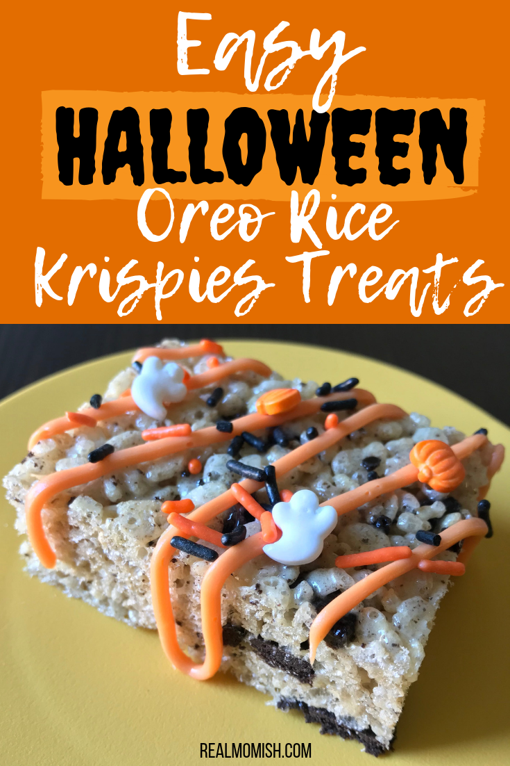 Halloween Oreo Rice Krispies Treats #Halloweentreats #HalloweenOreoRiceKrispiesTreats #OreoRiceKrispiesTreats #HalloweenDIY