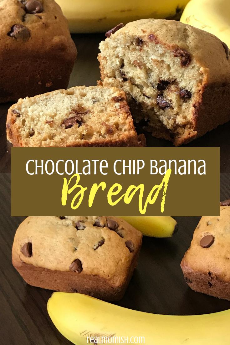 Chocolate Chip Banana Bread #Bananabread #Bread #ChocolateDessert #ChocolateChipBananaBread