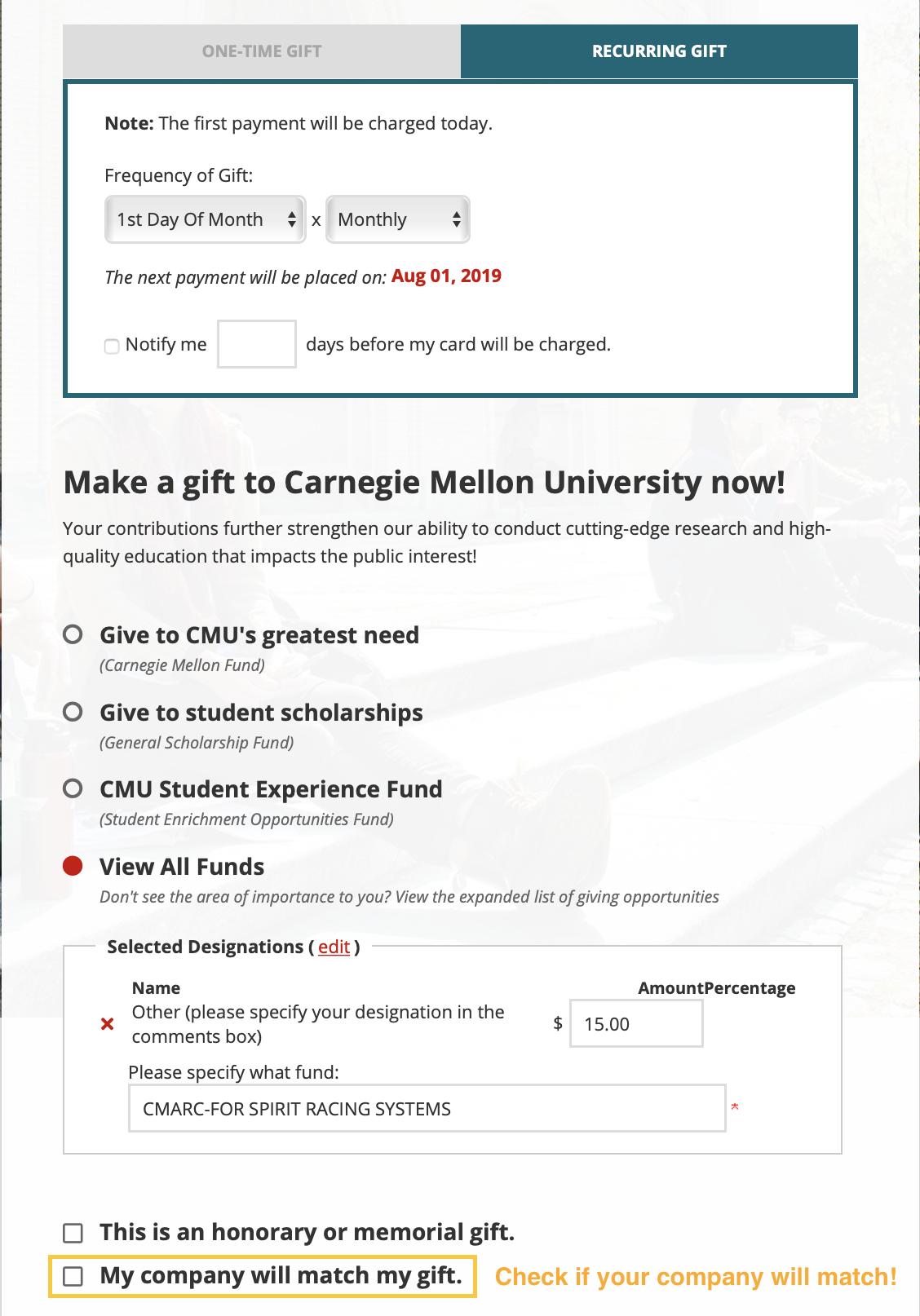 How to Donate via  CMU's website