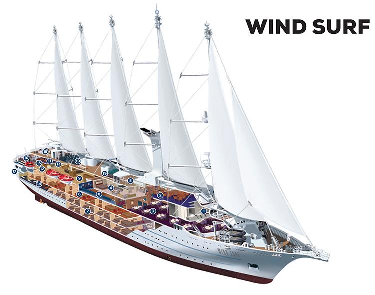 WindStar ship and cabin layout