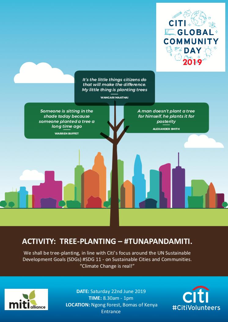 Citi #GCD2019 - Marking Global Community Day WorldwideDate: 22/o6/2019Venue: Ngong road Forest Section 5 near Bomas of KenyaTrees Planted: 3500#GCD2019 #CitiVolunteers #TUNAPANDAMITI #CitiKe