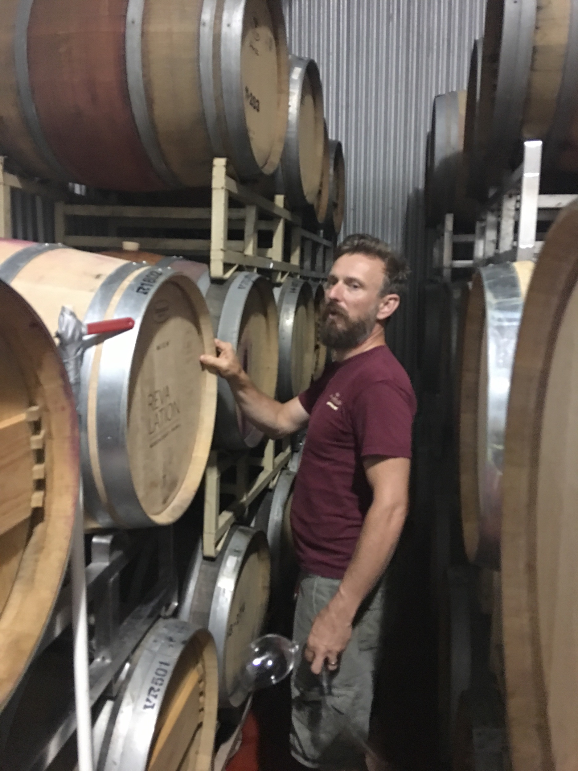 Winemaker Matthieu Finot locating the single barrel of Mount Alto Vineyards 2018 red amongst his sea of wine.