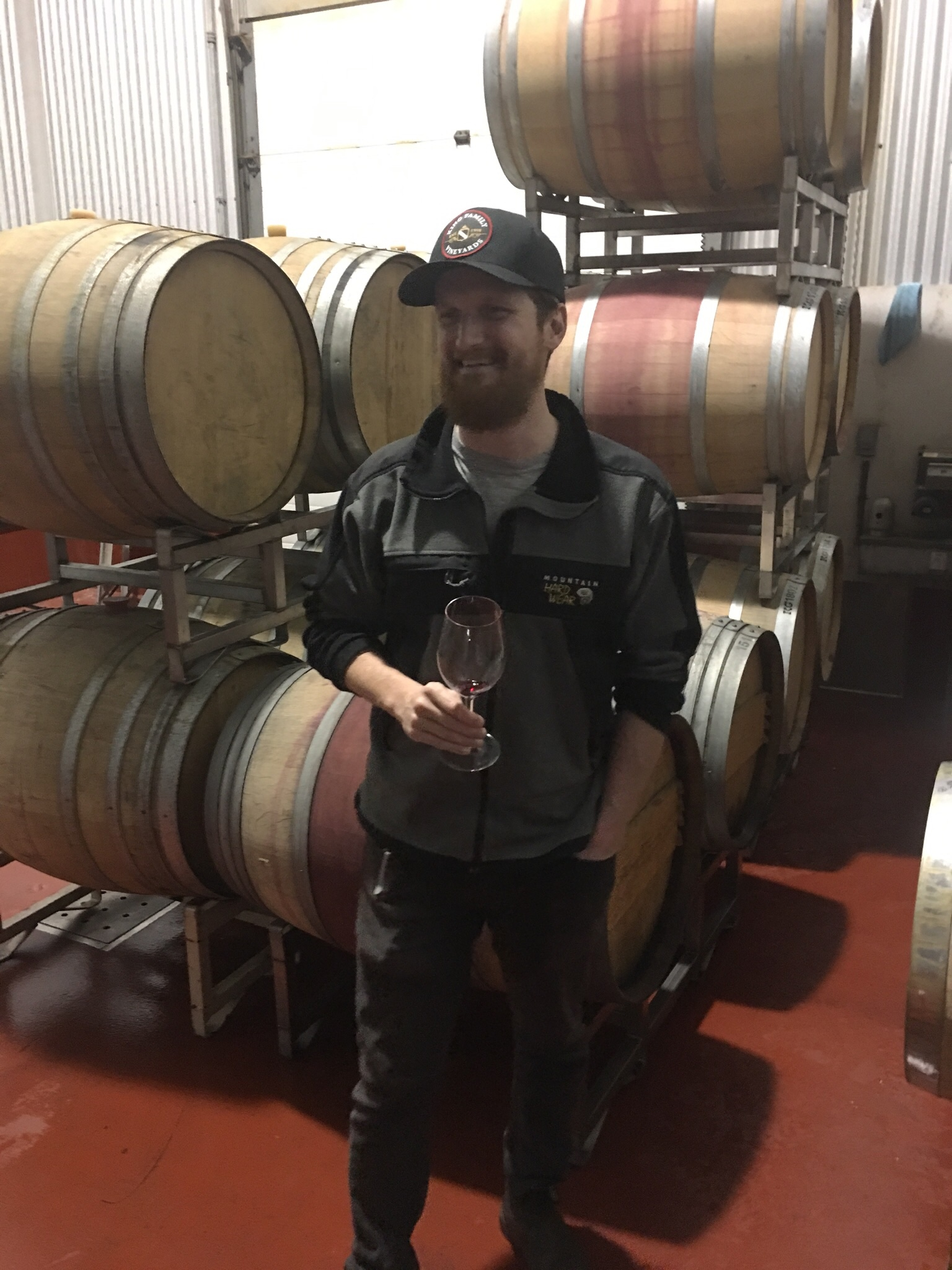Michael McGeary, former assistant winemaker for King Family Vineyards now head winemaker at Rocklands Farm Winery in Poolesville MD. He's smiling, but sad inside since his glass of MAV 2018 is empty.