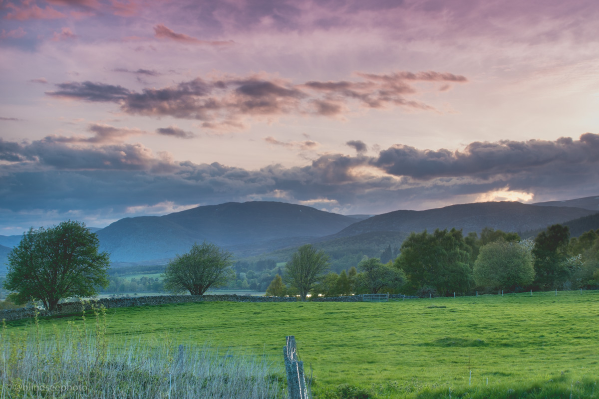 Soillerie House - Sunset over the Cairngorms