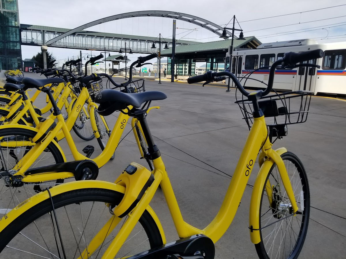 Dockless Bike Share Bikes At Lincoln Station