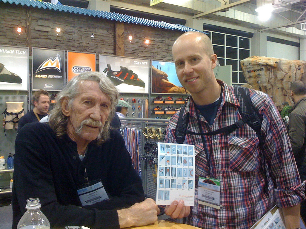 Jim Bridwell was one of the few to correctly identify the Alpinist's Alphabet from A-Z  circa Outdoor Retailer Show 2010