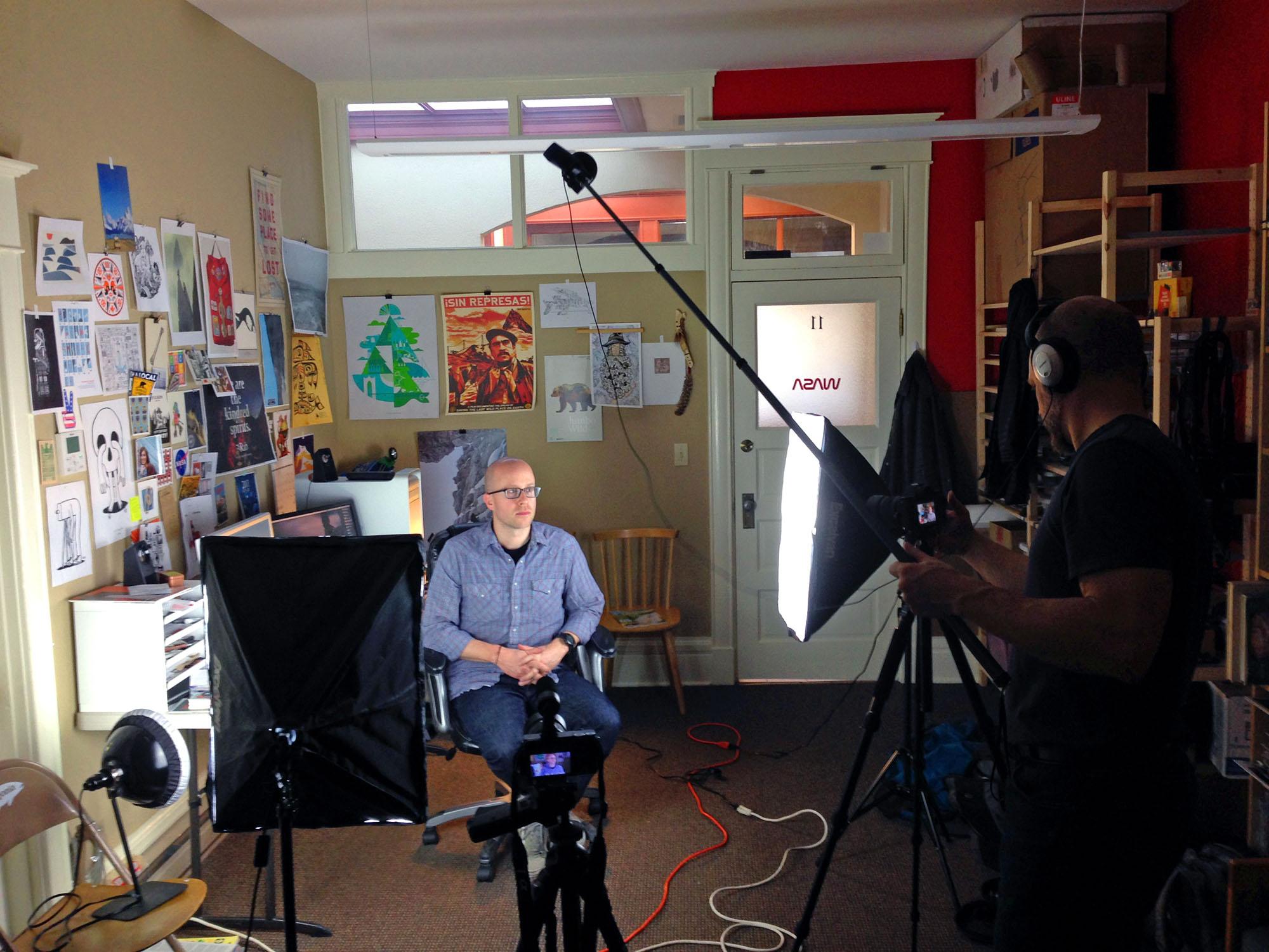 Bryan filming Seth in his studio