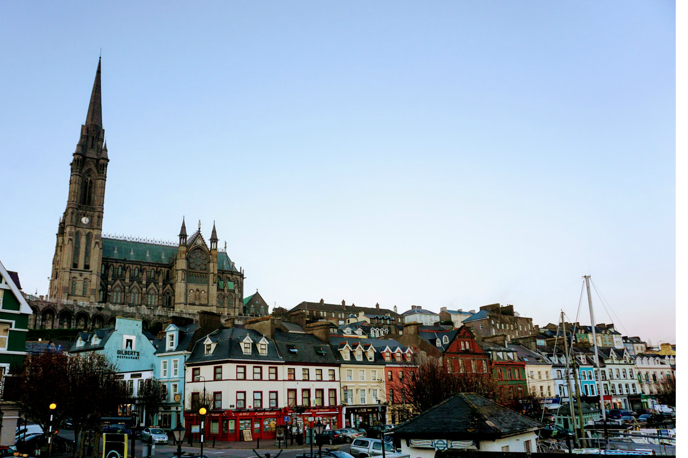 St. Colman's Cathedral towering above the harbor town of Cobh.