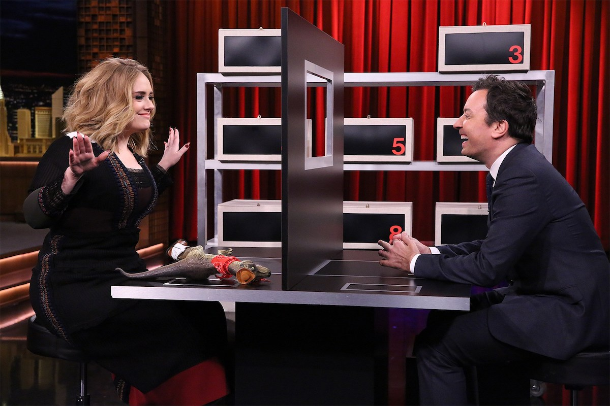 "adele and Jimmy Fallon face off in ""Box of Lies,"" one of the games that inspired this date night kit. Photo Credit: NBc / Fair USe."