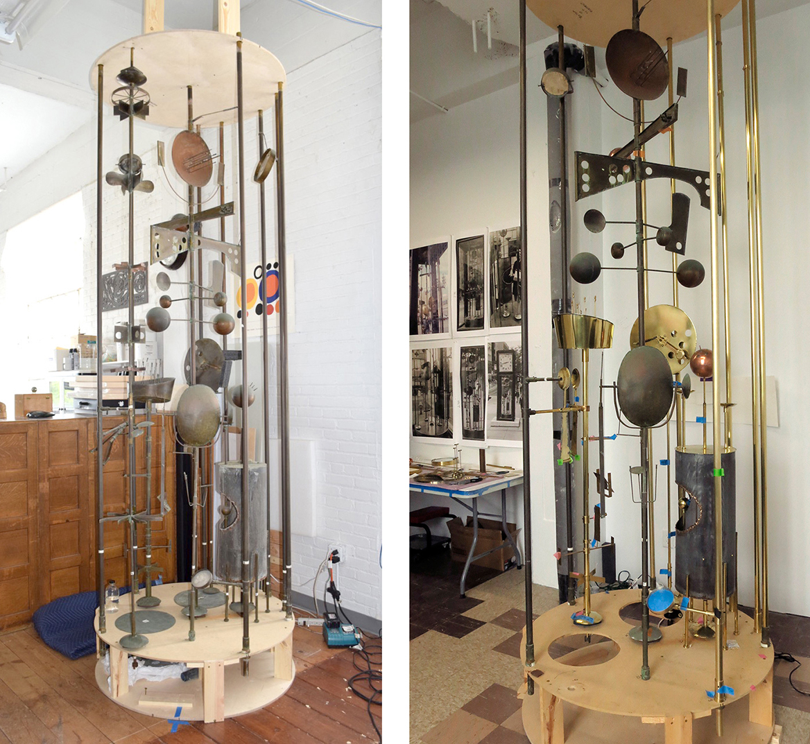 Jack Nelson's 1968 Sculpture Clock before (left) and after (right) restoration