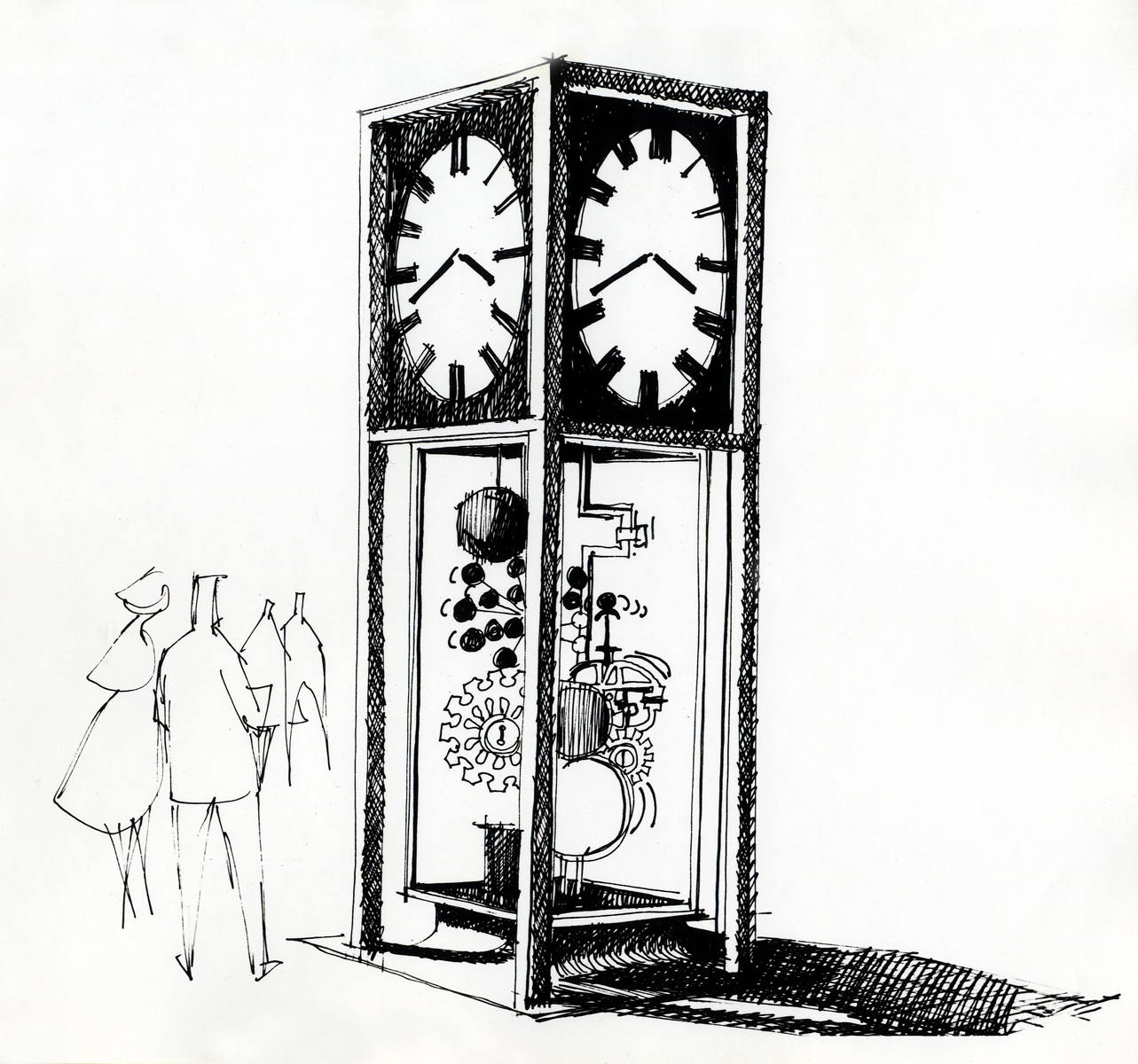 Sketch by Jack Nelson for the Sculpture Clock