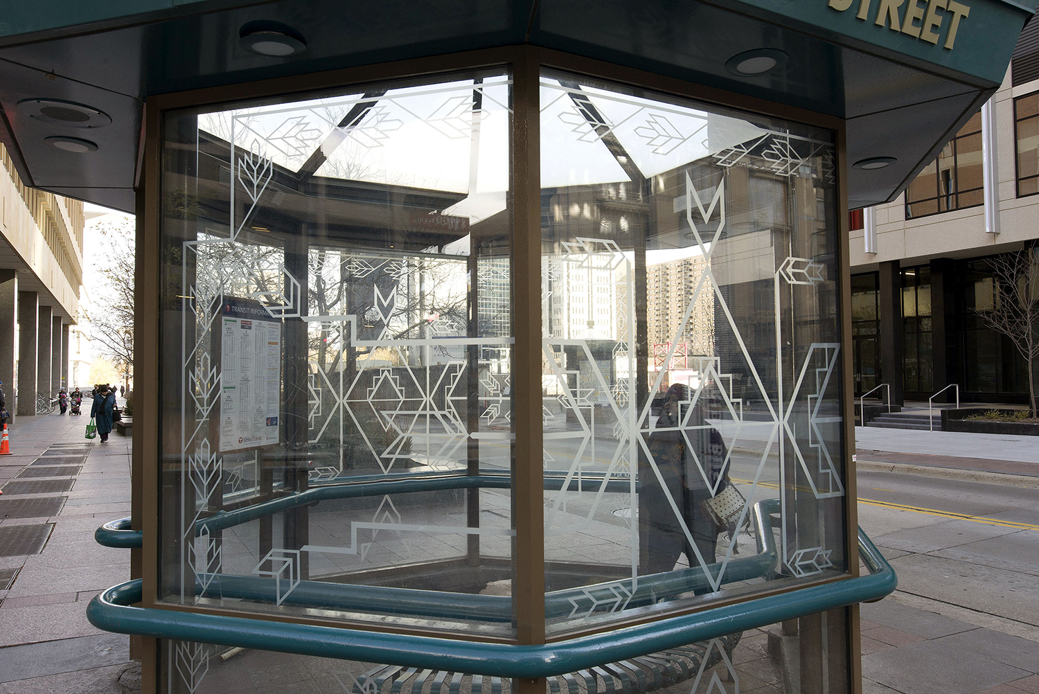 Glasswork for bus shelters by Philip Larson, 1992-2016. Photo: Jerry Mathiason.