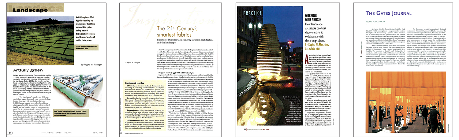 Journals include  Fabric Architecture ,  Landscape Architecture  and  Public Art Review