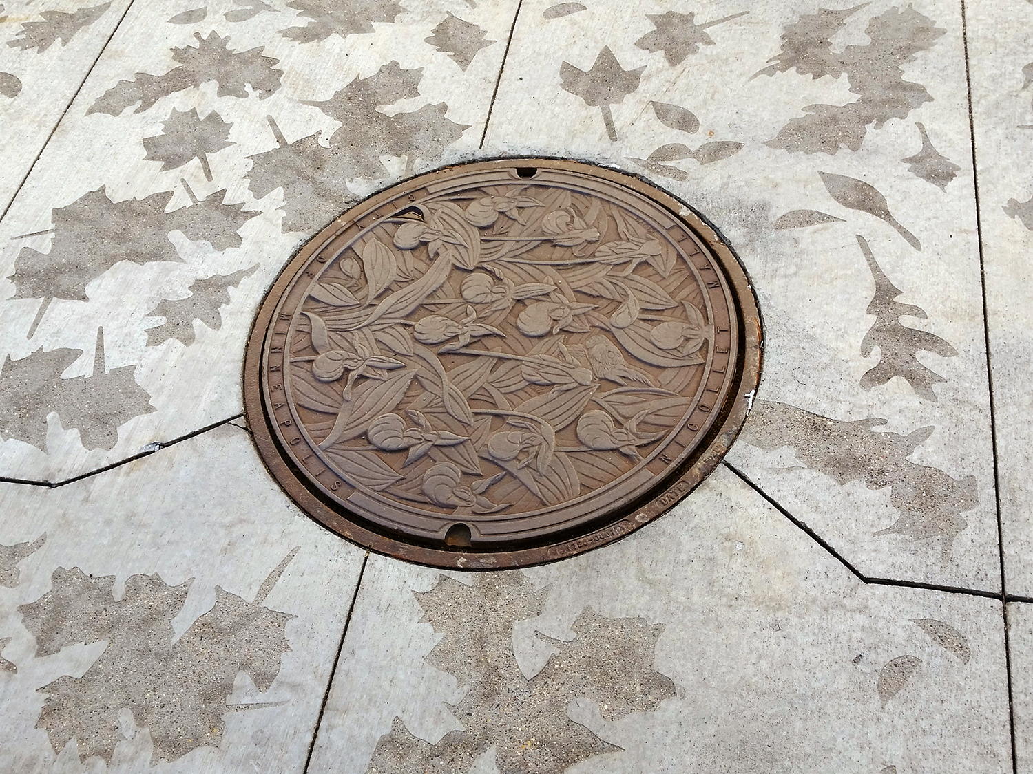 One of three sandblasted pavement patterns by JCFO with Ladyslipper manhole cover by Kate Burke. Photo: Mary Altman.