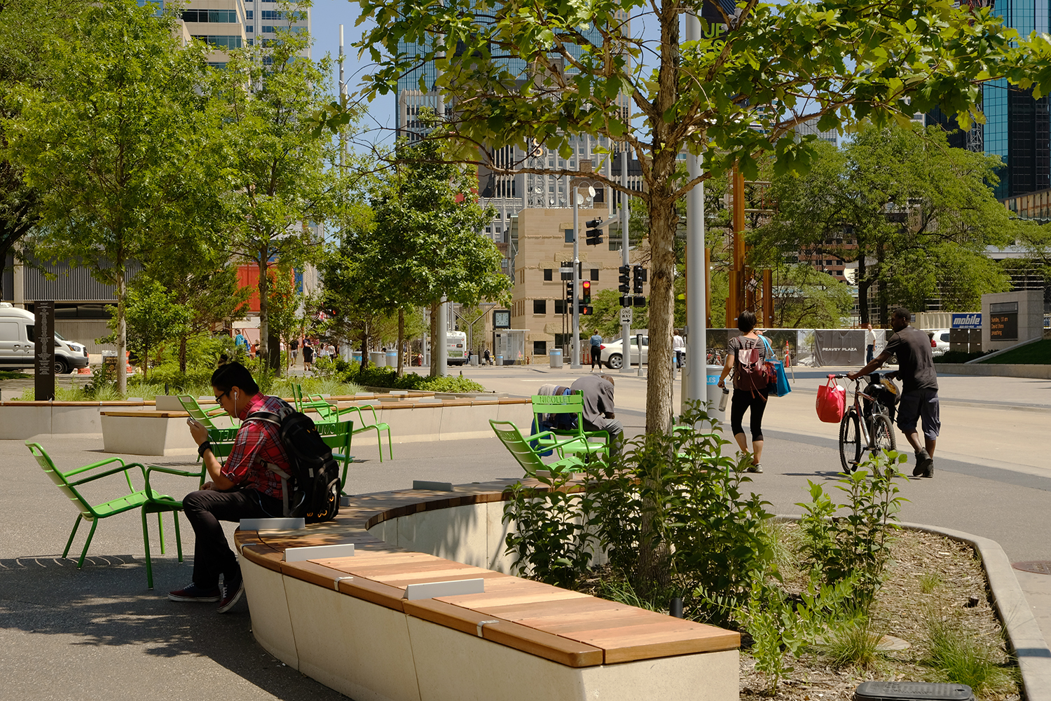 Loring Woods, at the south end of Nicollet, features moveable chairs, curved seat walls and planters.