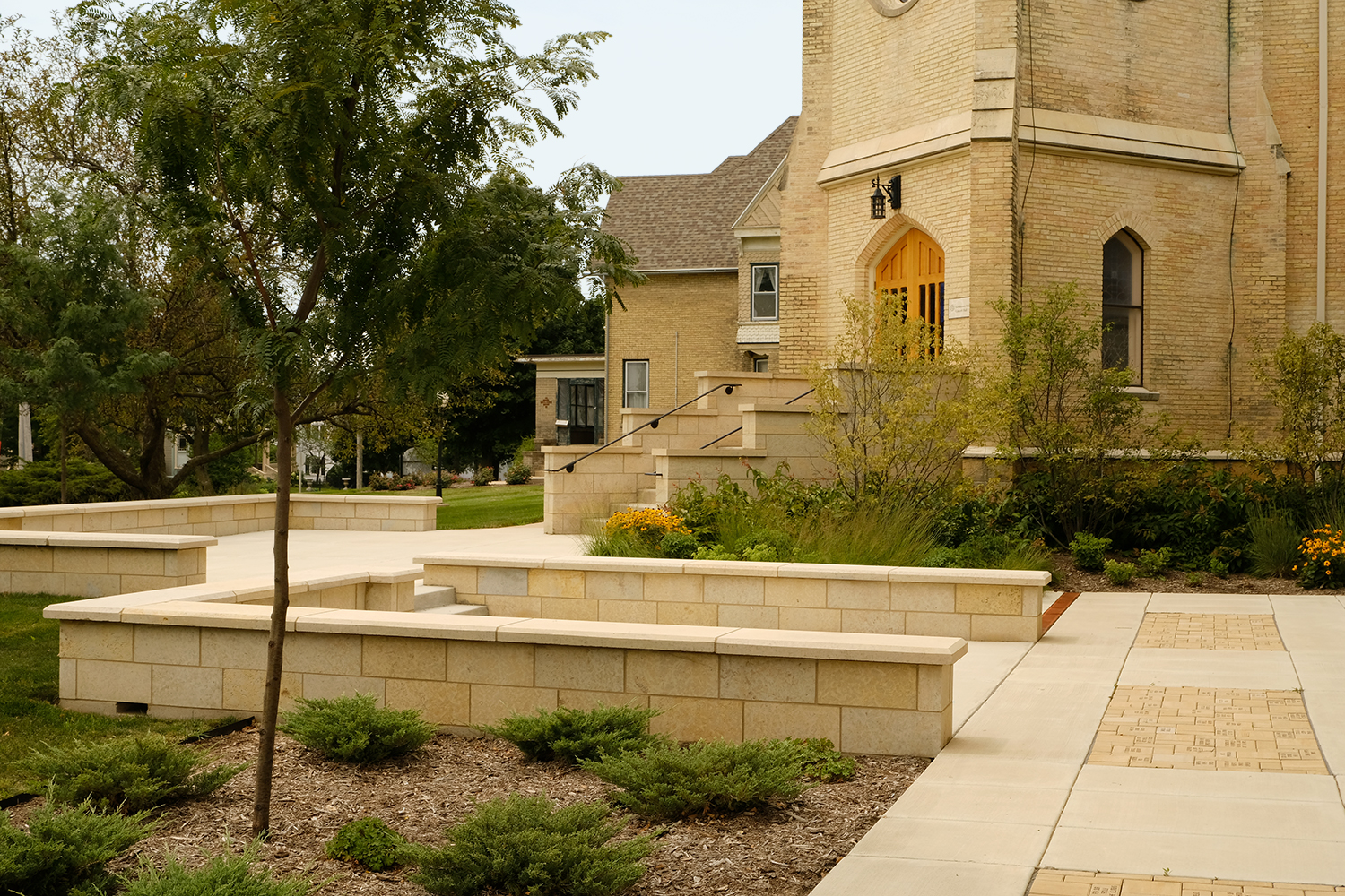 Monroe (WI) Arts Center landscape August 2018, one-year after installation