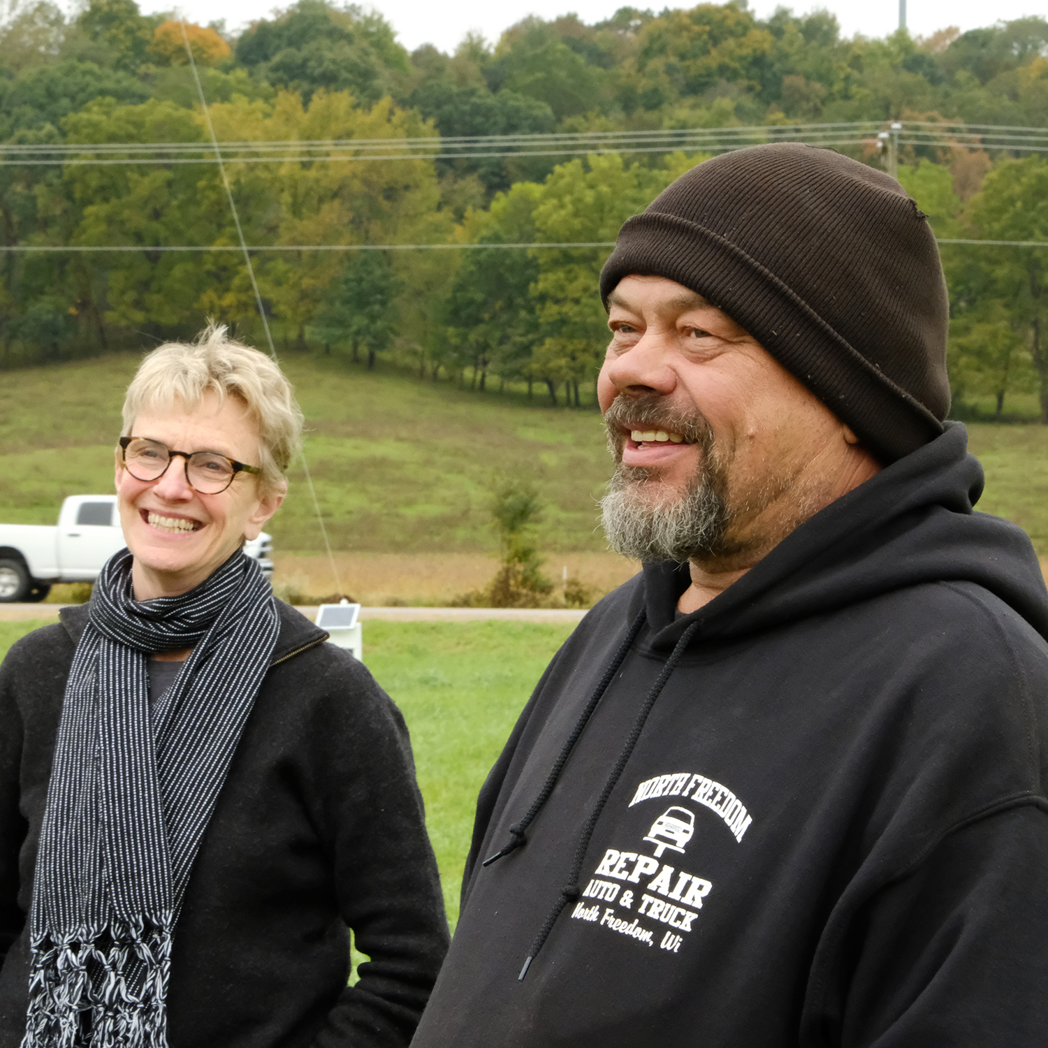 Donna Neuwirth, co-founder of Wormfarm with Jay Salinas, and one of the local farmers, Mark Shimniok, who offer their land for Farm/ArtDtour installations