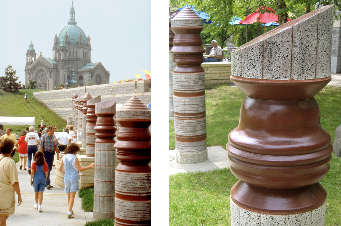 Minnesota History Center, Saint Paul. Courtyard design by Andrew Leicester with turned ceramic columns featuring physical profiles of diverse museum visitors.