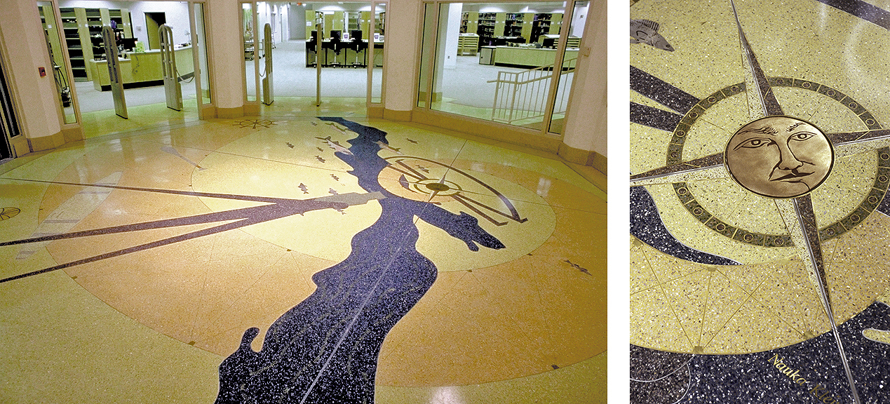 Winona (MN) State University Library terrazzo floor by Carolyn Braaksma and Brad Kaspari whose subject is the Mississippi River.