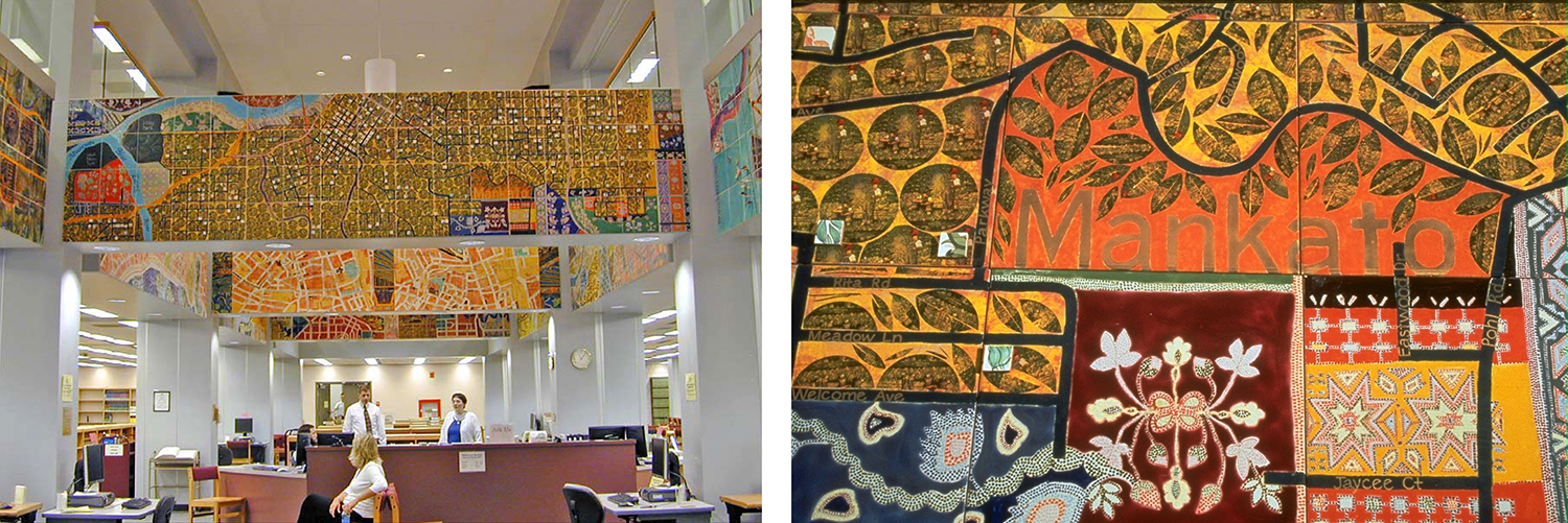 Around the World on the 44th Parallel , twelve-panel ceramic tile mural by joyce Kozloff at the Mankato State University Library. Geography, street layouts and cultural patterns of twelve cities on the 44th parallel, including Mankato.