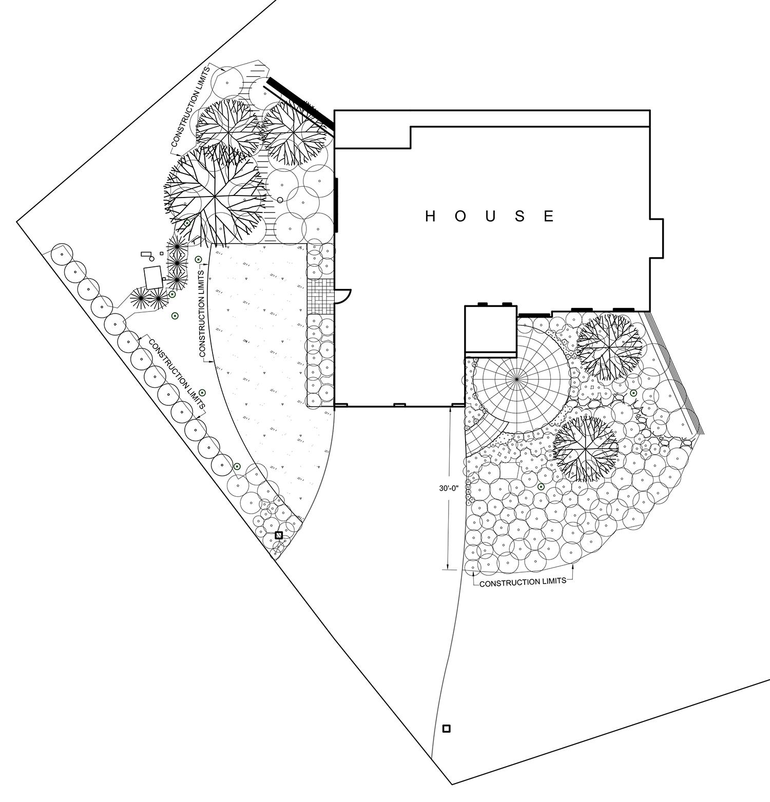 PRIVATE RESIDENCE, AFTON, MINNESOTA  Paving and Planting Plan  Design Build with Jim Hagstrom, Savanna Designs