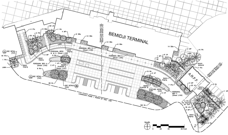 AIRPORT TERMINAL, BEMIDJI, MINNESOTA  Circulation, Parking Lot and Planting Plan With HNTB Corporation