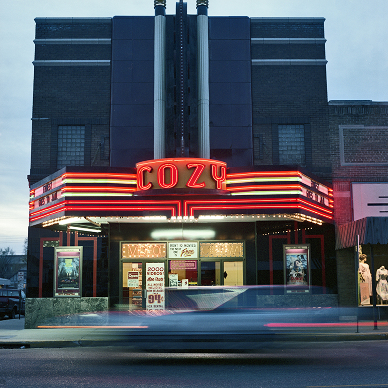 Cozy Theater, Wadena, Minnesota. May 1990. Art Deco theater in a town of 4,000. Built in 1914 with the neon marquee added in 1938; in continuous operation since.