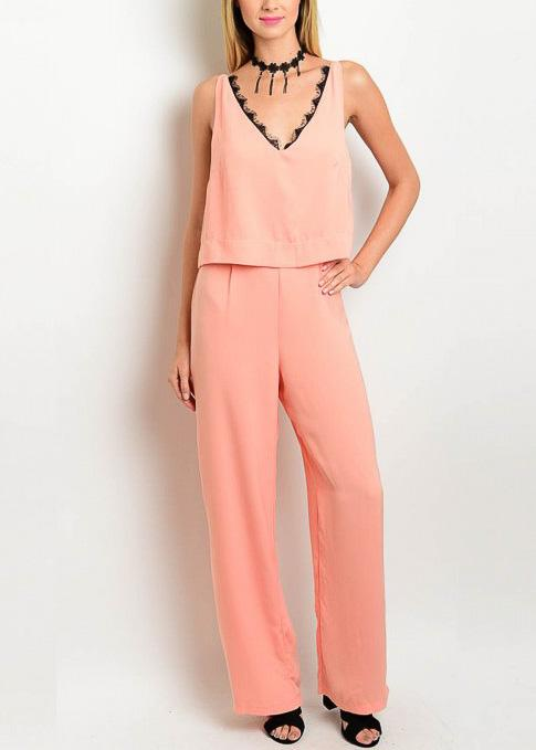 Coral V-neck Jumpsuit - $35   From Anny