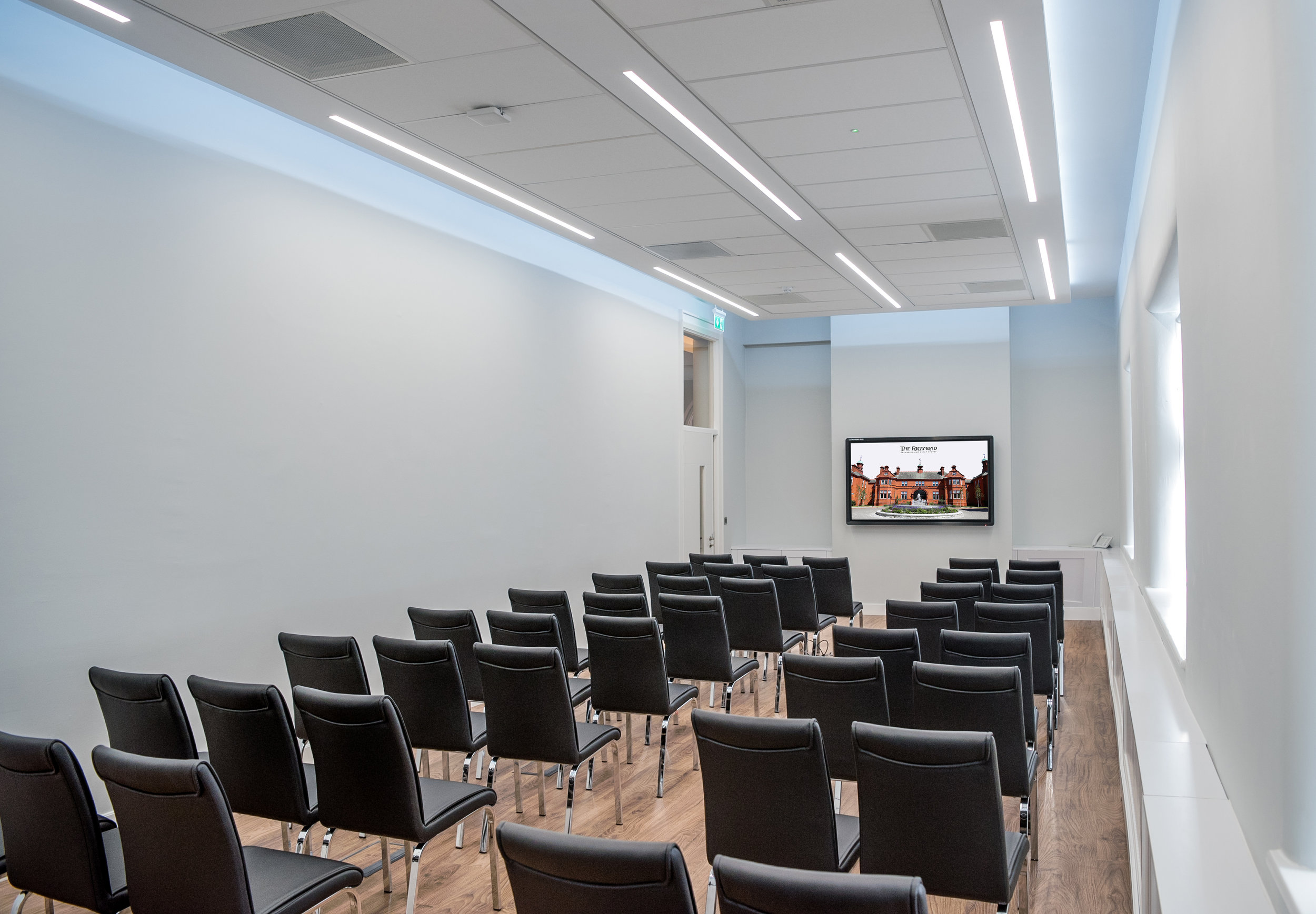 Education Room - The Education room is a multifunctional room with plentiful natural light that can be arranged in various layouts for meetings and events to suit your needs. It is a suitable option for education sessions and seminars, with AV equipment and dimmable lighting, it can seat 26 in a classroom style.