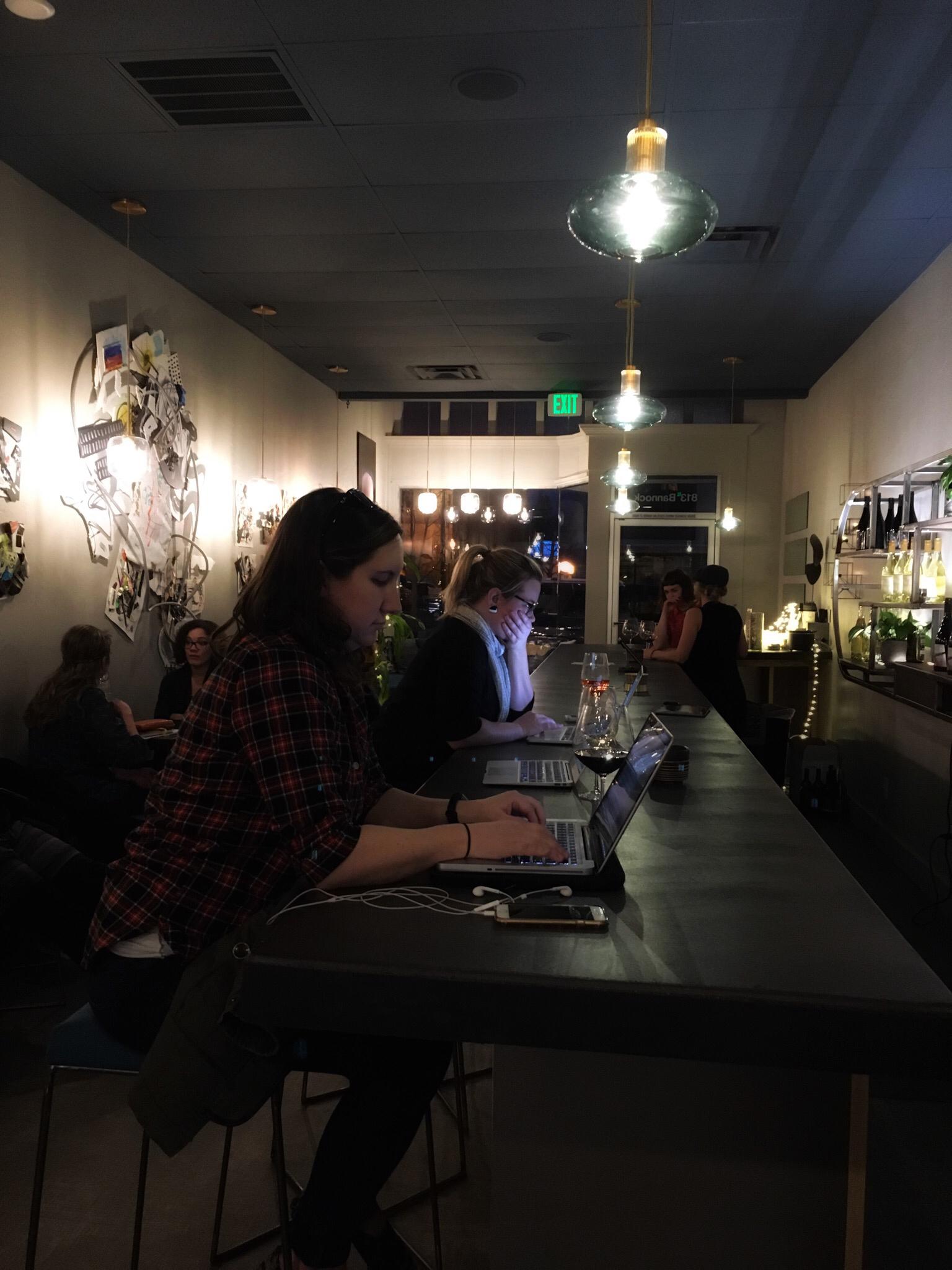 freewrite nite feb 2018 at Coiled Wine Bar